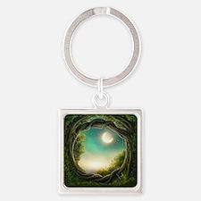Magic Moon Tree Square Keychain