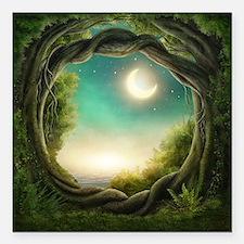 "Magic Moon Tree Square Car Magnet 3"" x 3"""