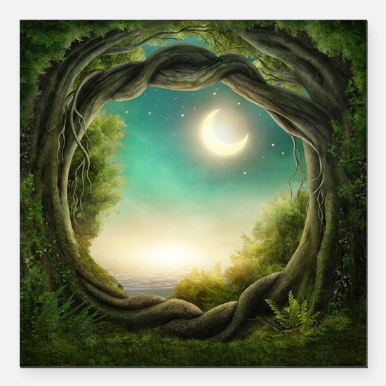 "Magic Moon Tree Square Car Magnet 3"" x 3"""