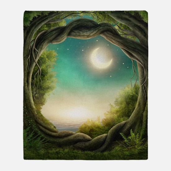 Magic Moon Tree Throw Blanket