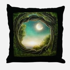 Magic Moon Tree Throw Pillow