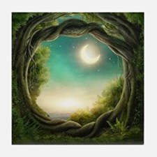 Magic Moon Tree Tile Coaster