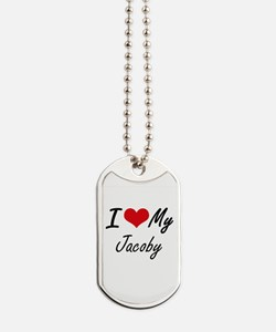 I Love My Jacoby Dog Tags
