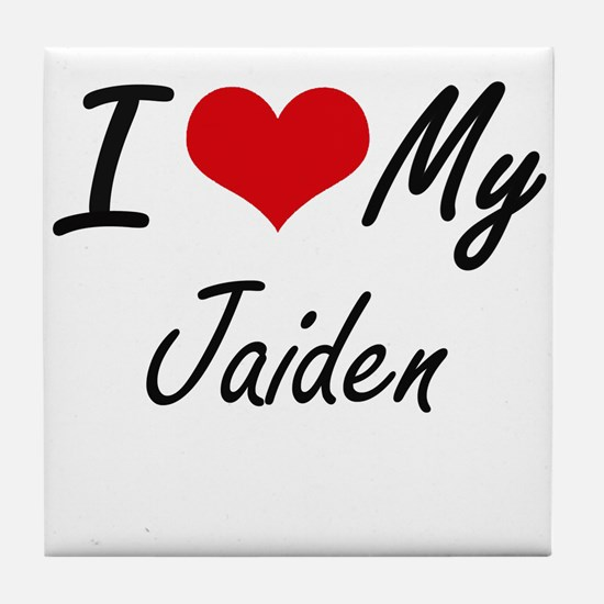 I Love My Jaiden Tile Coaster