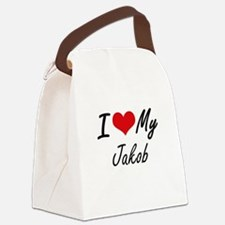 I Love My Jakob Canvas Lunch Bag