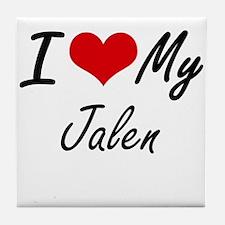 I Love My Jalen Tile Coaster