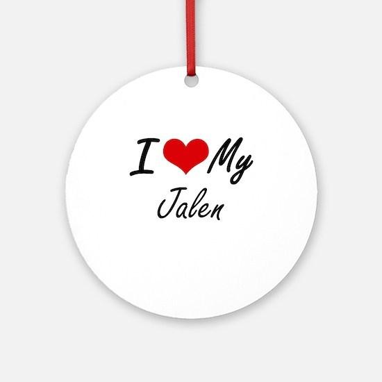 I Love My Jalen Round Ornament