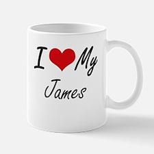 I Love My James Mugs
