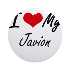 I Love My Javion Round Ornament