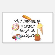 What Happens at Grandpa's... Rectangle Decal