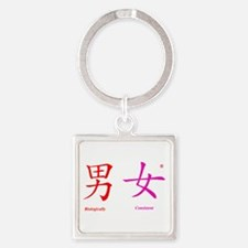 Man and Woman Square Keychain