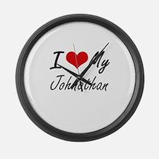 I Love My Johnathan Large Wall Clock