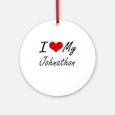 I Love My Johnathon Round Ornament