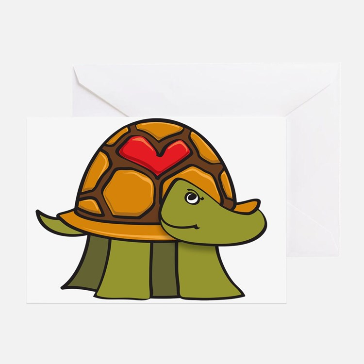 Turtle Shell Heart Greeting Cards