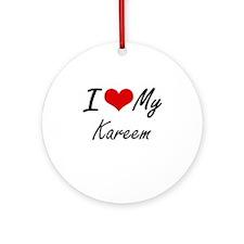 I Love My Kareem Round Ornament