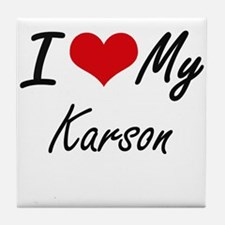 I Love My Karson Tile Coaster