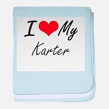 I Love My Karter baby blanket