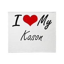 I Love My Kason Throw Blanket