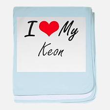 I Love My Keon baby blanket