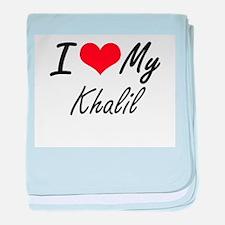 I Love My Khalil baby blanket
