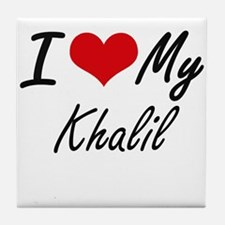 I Love My Khalil Tile Coaster