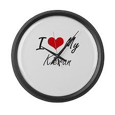 I Love My Kieran Large Wall Clock