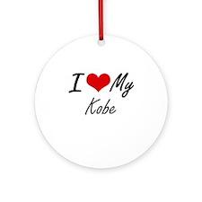 I Love My Kobe Round Ornament