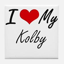 I Love My Kolby Tile Coaster