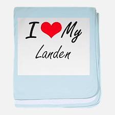 I Love My Landen baby blanket