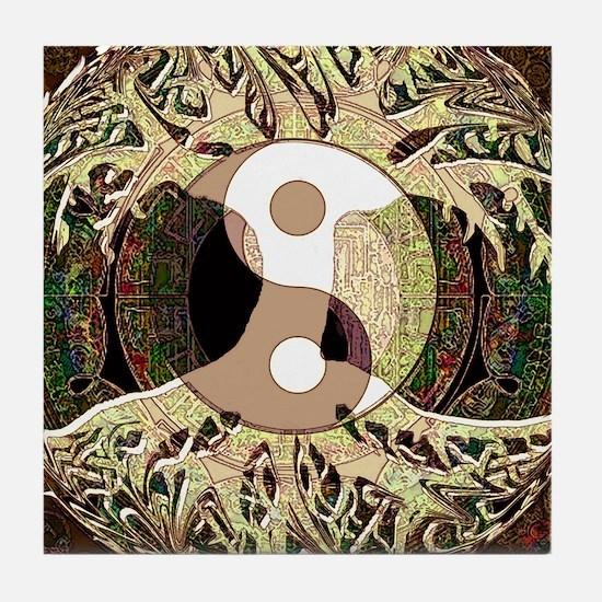 Yin Yang Mandala Tile Coaster