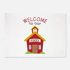Welcome To School 5'x7'Area Rug
