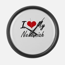 I Love My Nehemiah Large Wall Clock