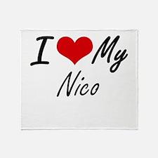 I Love My Nico Throw Blanket