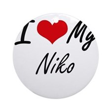I Love My Niko Round Ornament