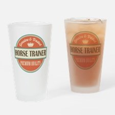 horse trainer vintage logo Drinking Glass
