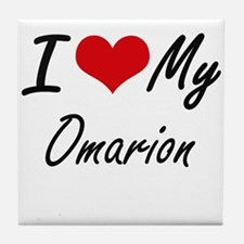 I Love My Omarion Tile Coaster
