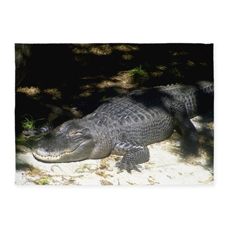 Alligator Sunbathing 5u0027x7u0027Area Rug