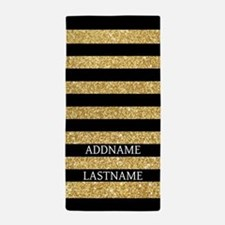 Black And Gold Stripes Personalized Beach Towel