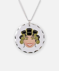 Woman In Curlers Necklace