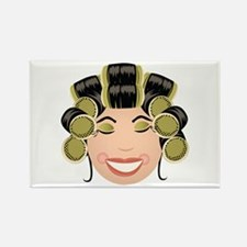 Woman In Curlers Magnets