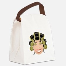 Woman In Curlers Canvas Lunch Bag