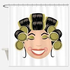 Woman In Curlers Shower Curtain