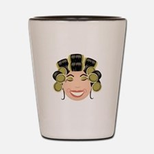 Woman In Curlers Shot Glass