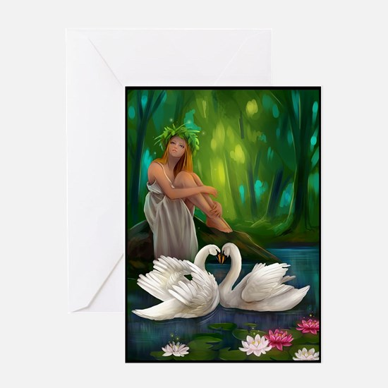 Muse and Swans Greeting Card