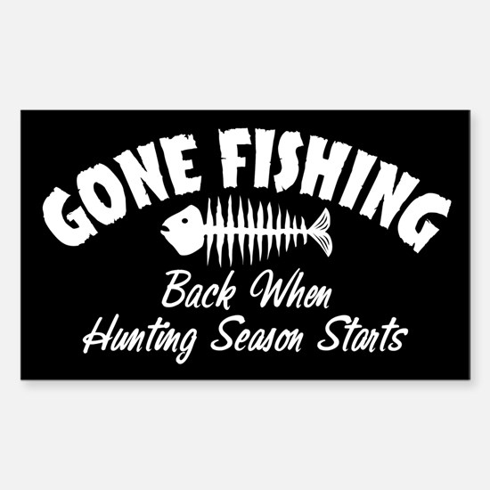 Gone Fishing Rectangle Decal