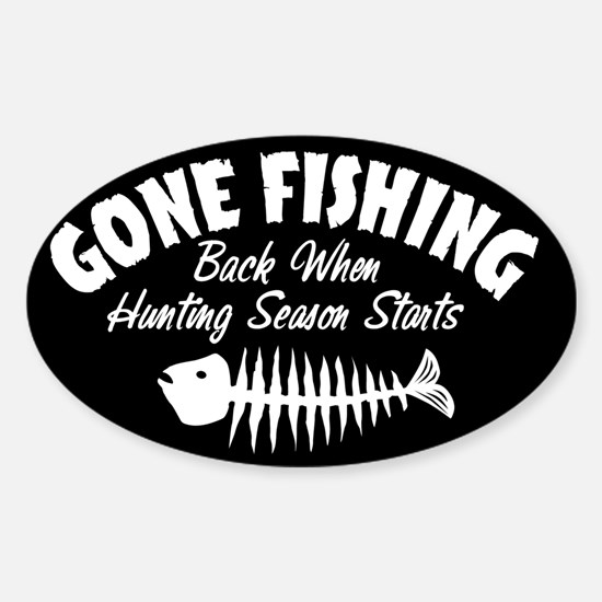 Gone Fishing Oval Decal