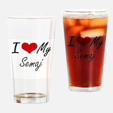 I Love My Semaj Drinking Glass