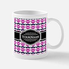 Personalized Name Pink Mustache Lips Mug