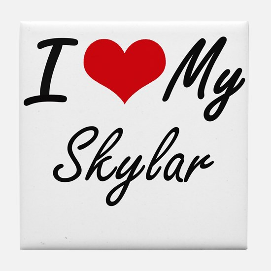 I Love My Skylar Tile Coaster