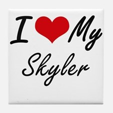 I Love My Skyler Tile Coaster